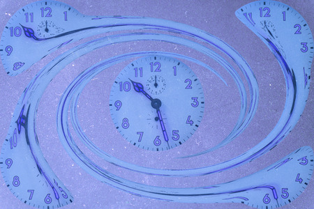 Spiral clocks with a background of a blue color