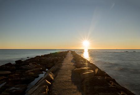 The coast of Benicasim at sunrise, Castellon, Spain