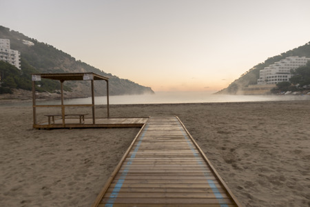 The cala llonga in Santa Eulalia, Ibiza, Spain Banco de Imagens