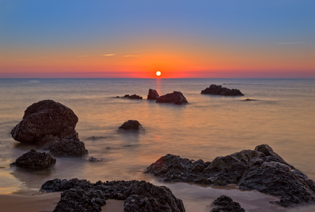 The beach at dawn in the village of Noja, Cantabria Banco de Imagens