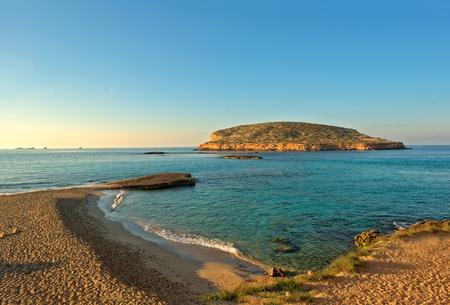 Cala Comte beach on the island of Ibiza, Balearic Islands, Spain