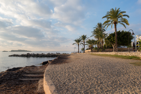 The beach of Sas figueretes under the blue sky in ibiza, Spain