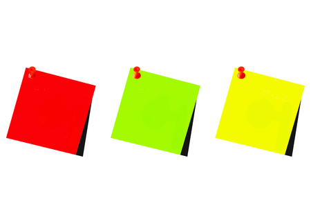 Three red, green and yellow post it with white background to write Stok Fotoğraf - 95458416