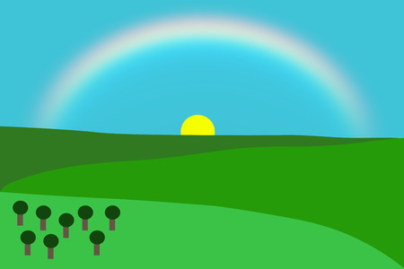 One Vector of a mountainous landscape with trees, sun and rainbow