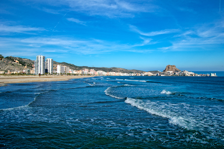 The beach of Cullera and the blue sky, Spain