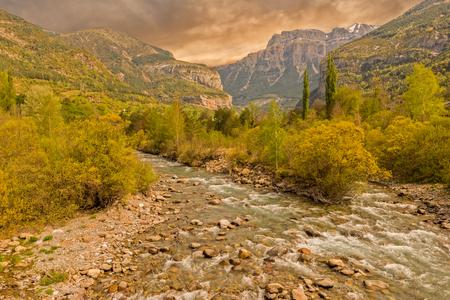 The river in broto at sunset, pyrenees, ordesa, Spain