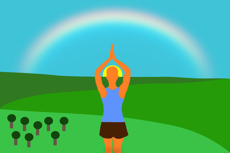 A young girl practicing yoga on the mountain with the rainbow