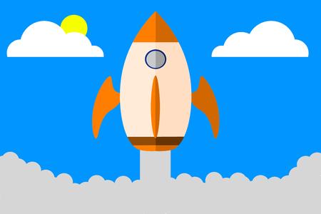 Illustration of a orange rocket going up through the blue sky