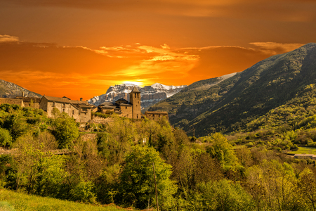 Sunset in the natural park of Ordesa, Huesca, Spain