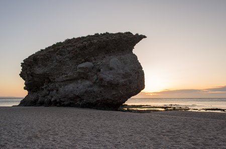 Sunrise on the beach of the dead of Carboneras, Almeria