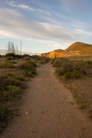 Access to the Genoveses beach in Cabo de Gata, Spain Фото со стока