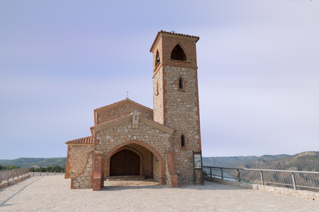 Hermitage under the blue sky in aragon