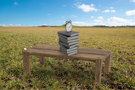A table with books and an alarm clock in the field, Spain