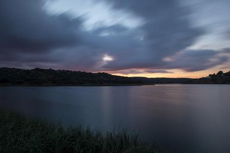 Sunset in the lakes of ruidera, route of the quixote, Spain Foto de archivo