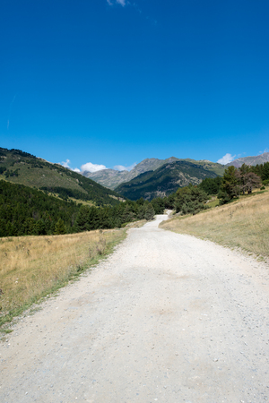 Road to Montgarri in the mountains of Aran Valley in summer, Spain Stock Photo