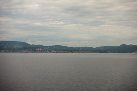 The island of ibiza seen from the sea, Spain Stock Photo
