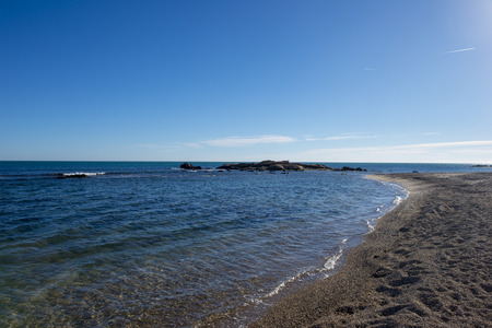 The ampolla beach on the coast of Tarragona, Spain 写真素材
