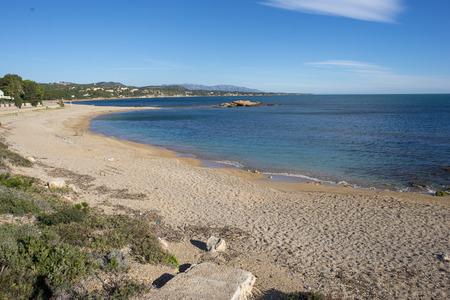 The ampolla beach on the coast of Tarragona, Spain Фото со стока