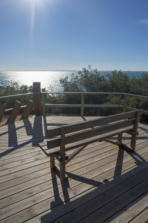 Bank in a viewpoint to the coast of ametlla de mar, Spain