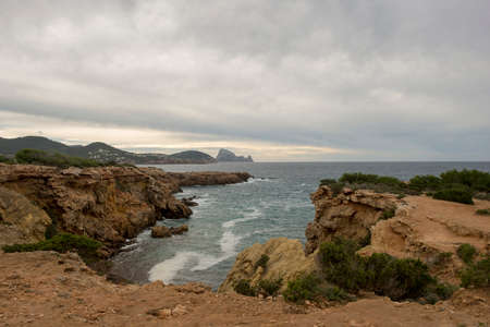 The coast in Llentia on the island of Ibiza, Spain Standard-Bild