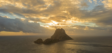 The island of Es Vedra in long exposure at sunset, Spain Stok Fotoğraf