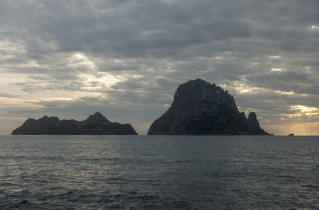 A beautiful sunset on the island of Es Vedra, Ibiza, Spain Banco de Imagens