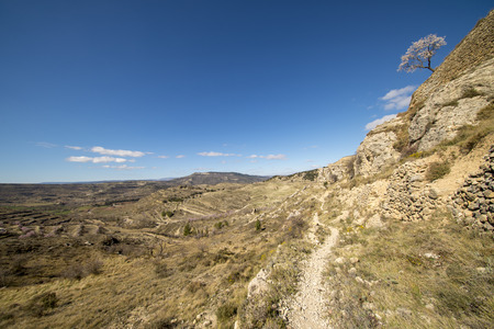 Path through the mountain next to the town of Morella, Spain Banco de Imagens