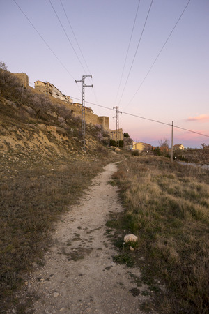 Mountains around Morella in els ports during sunset, Spain Stockfoto