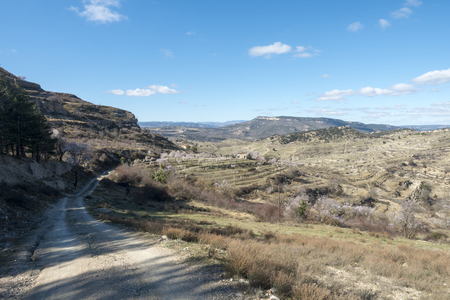 Landscape around the town of Morella in Castellon, Spain 版權商用圖片