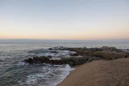 Sunrise on the beach of Lloret de Mar, Spain