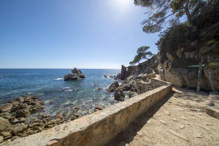 Round roads through Lloret de Mar, Costa brava, Spain Фото со стока