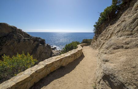 Round roads through Lloret de Mar, Costa brava, Spain 免版税图像