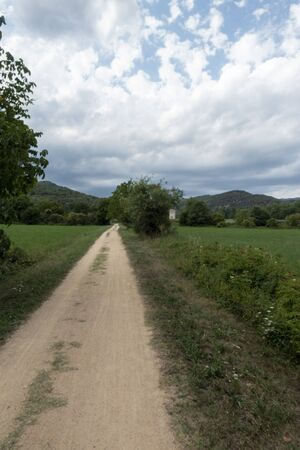 The green way of the carrilet path of Olot, Spain