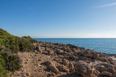 The sea in the Sierra de Irta in Alcocebre, Spain 版權商用圖片