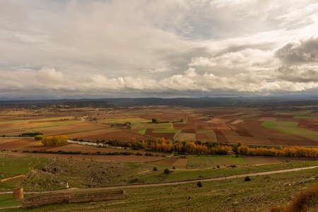 Gorzmaz fortress a very cloudy day in Soria, Spain Reklamní fotografie