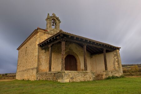 Christian hermitage in Soria on a cloudy day, Spain