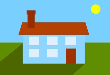 Illustration of a house with garden and yellow sun, Spain