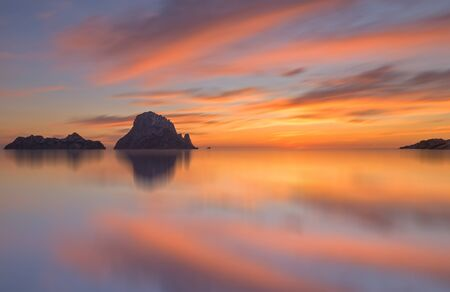 Quiet sunset on the island of Es Vedra, Ibiza, Spain