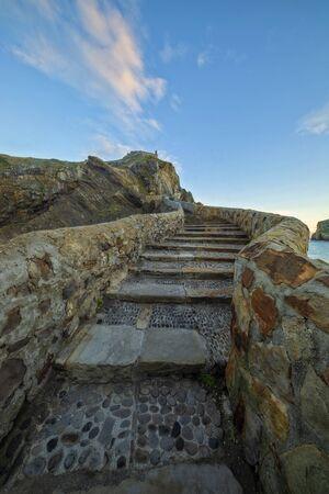 Access by stairs to the hermitage of San Juan de Gaztelugatxe, Spain