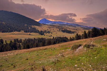 A sunset in the mountains of the aran valley, Spain