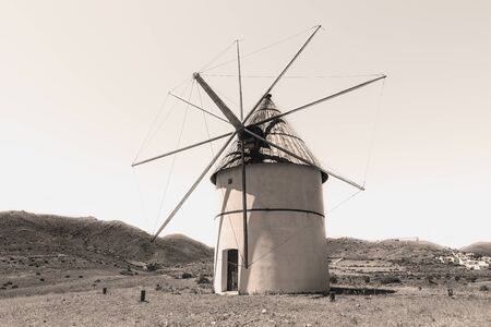 A lonely windmill in the Almeria countryside, Spain