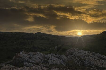 A sunset in the mountains of Valdelinares, Teruel, Spain Foto de archivo