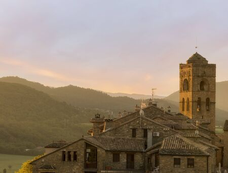 A sunrise in the town of Ainsa in Huesca, Spain Foto de archivo