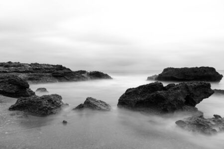 A sunrise in black and white in Oropesa del Mar, Spain