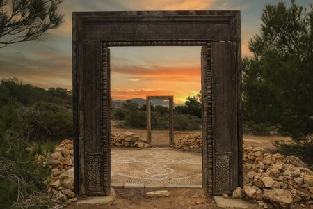 The gates of Llentia at dawn in Ibiza, Spain