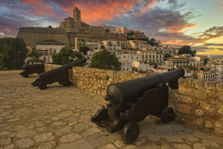 Cannons in Ibiza town at sunset, Balearic Islands, Spain