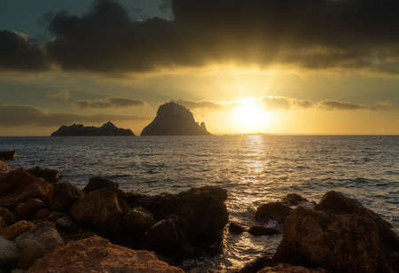 Sunset in Ibiza next to the island of Es vedra Reklamní fotografie - 151218655