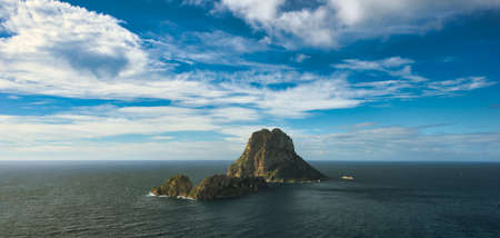 The island of Es Vedra from a viewpoint in Ibiza, Spain