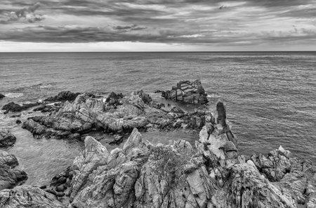 The coast in Lloret de Mar in black and white, Spain Reklamní fotografie