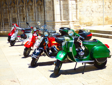 Motorbikes in front of church Editorial